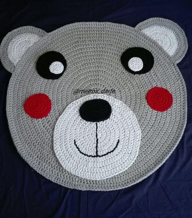 PROMOÇÃO Tapete urso feito à mão em croche