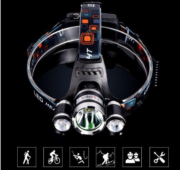Lanterna cabeça 3 lâmpadas LED T6 + 2R5 6000Lm