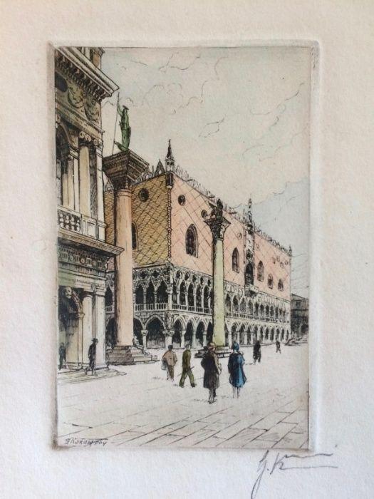 2 Gravuras de Giovanni Korompay – cerca de 1920 São Pedro de Castelões - imagem 2