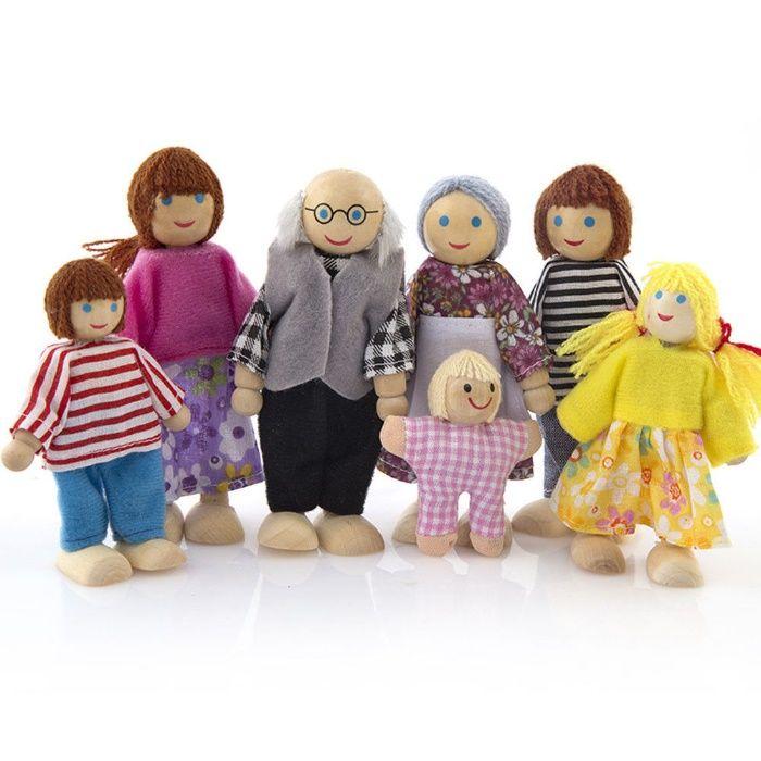 Família em madeira para casa de bonecas (jogo de faz-de-conta) novo