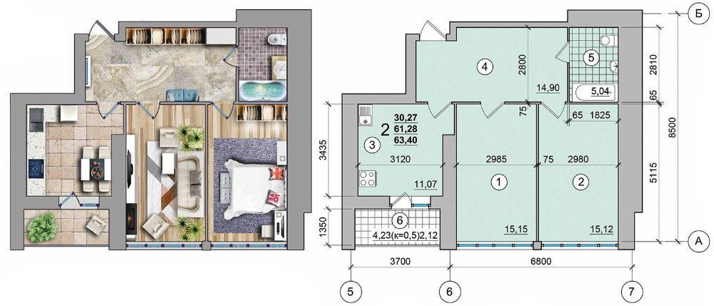 Дом построен! 2ком. квартира 64м2, АВТОНОМНОЕ отопление!