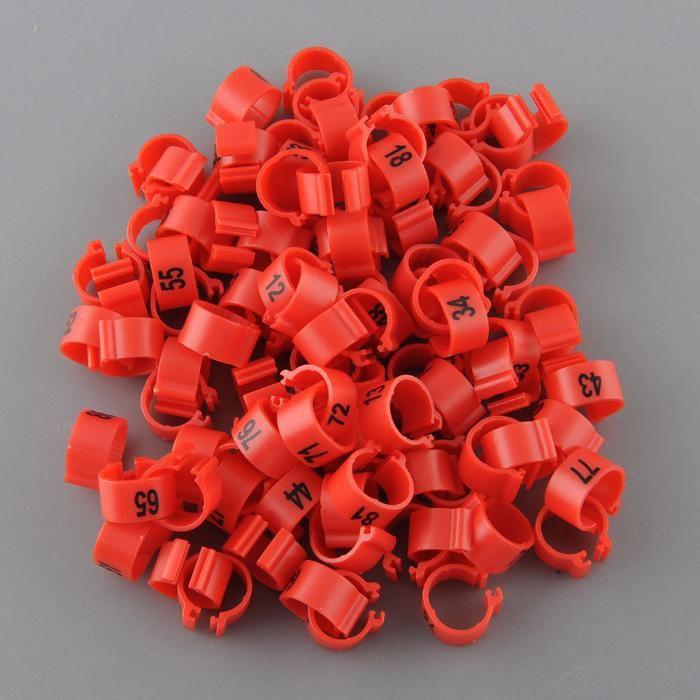 100 anilhas pombos correio numeradas 1 a 100 vermelho