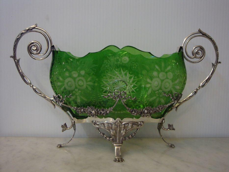 Centro mesa em cristal e prata