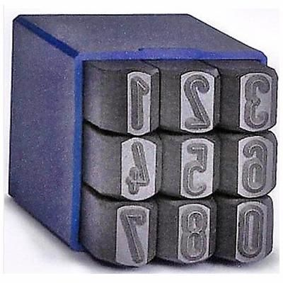 Caixa 9 Punções Marcadores Numerário Números 6 mm
