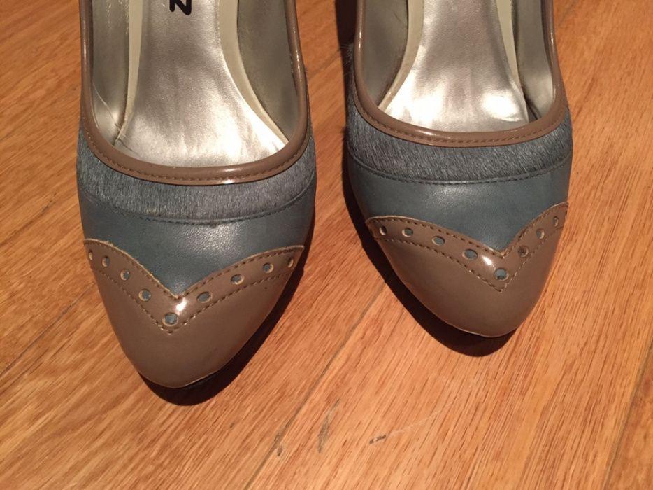 48a58a7f2 Sapatos Zilian, tamanho 40 - Lumiar - Sapatos pele sintética azul petróleo  e toupeira com