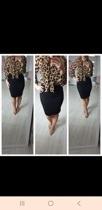 Czarna spódnica i koszula w panterkę