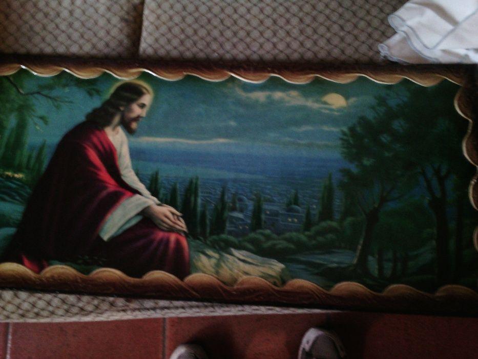 Tela pintada á mão muito antiga Imagem de Cristo