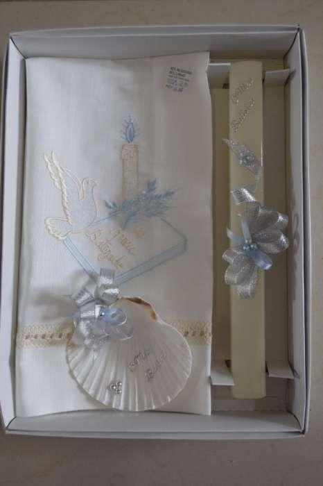 Conjunto Baptizado - Vela + toalha + concha