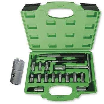 Kit rectificador com 17 peças para limpar as sedes dos injectores
