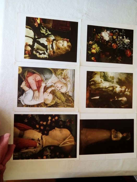 Conjunto de seis cópias de obras da Pintura Universal