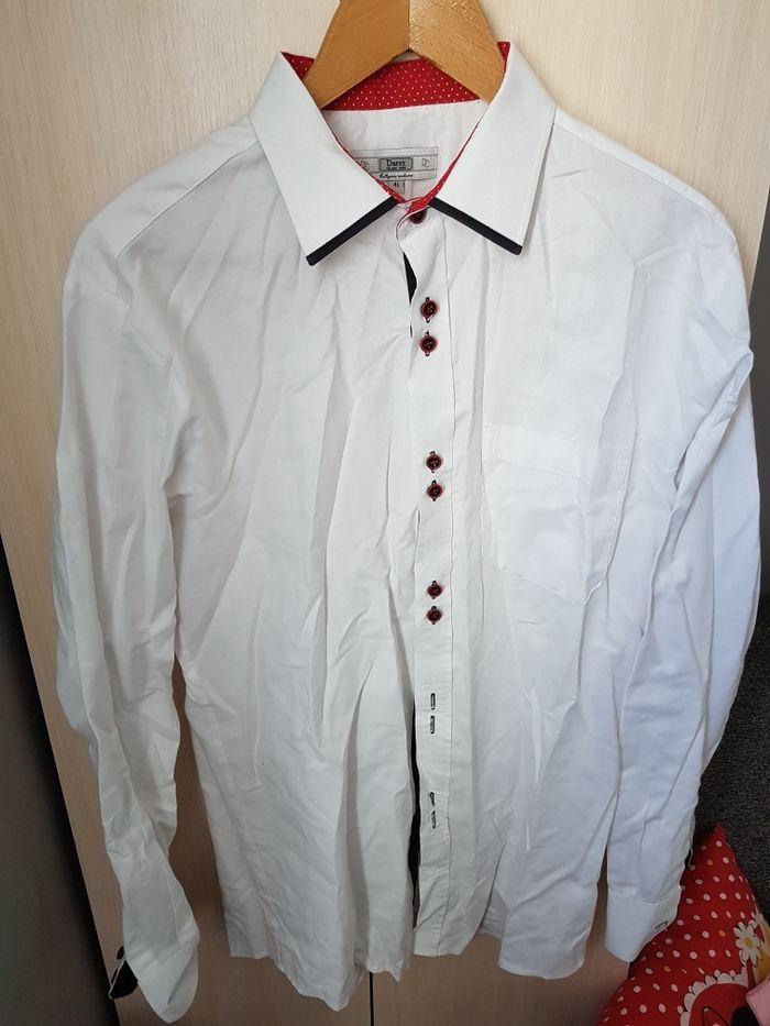 Koszula Darex biała Dług i rękaw czerwone guziki 41 Pleszew  G1zyZ