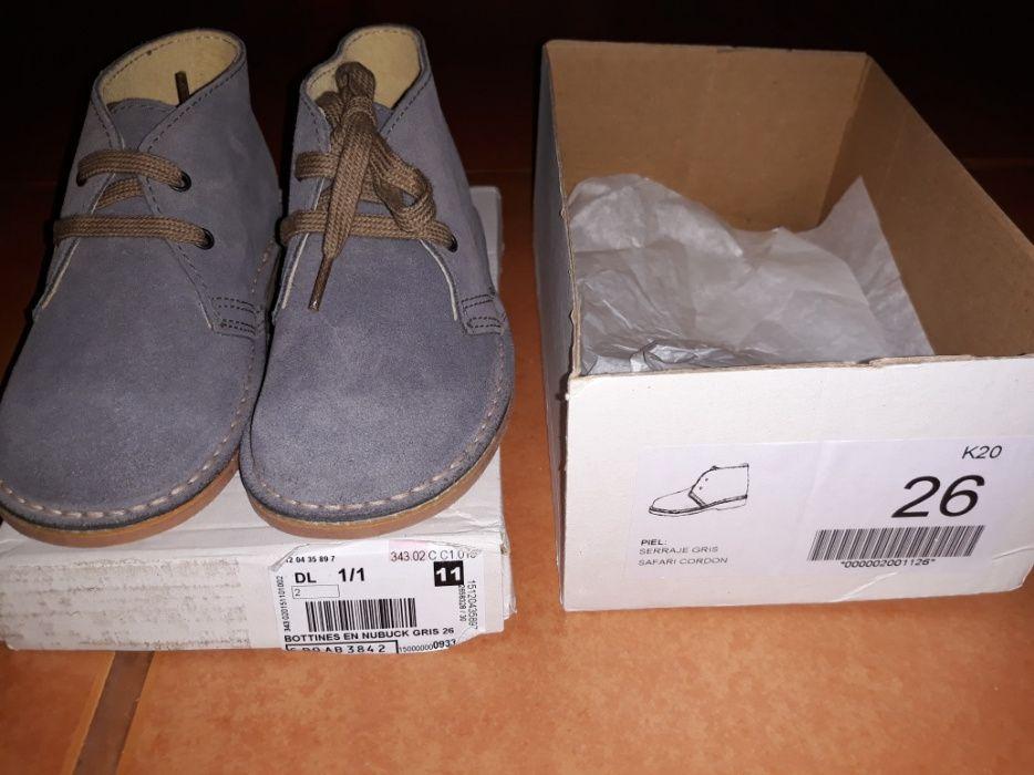 Sapato safari pele cinzento NOVOS - oferta dos portes