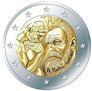 Moeda 2 Euros Comemorativa França 2017 - Centenário de Auguste Rodin