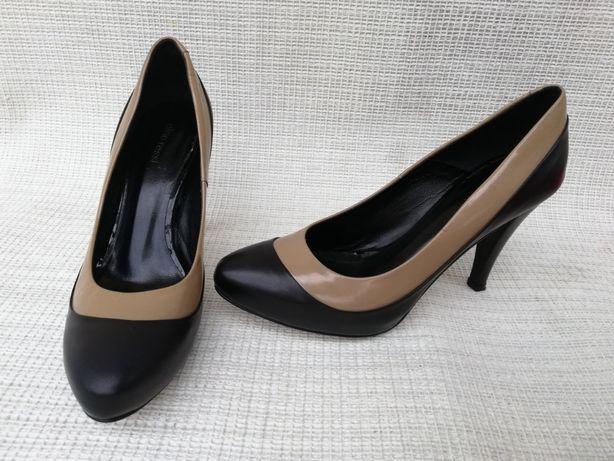 Buty szpilki skórzane Gino Rossi r.37,stopa 23,5cm Sucha