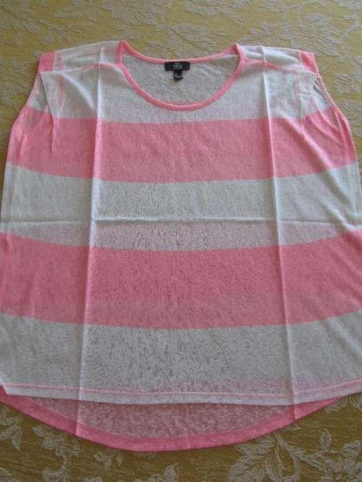 6e77937986 T-shirt Mango às riscas rosa e branco Alvalade • OLX Portugal
