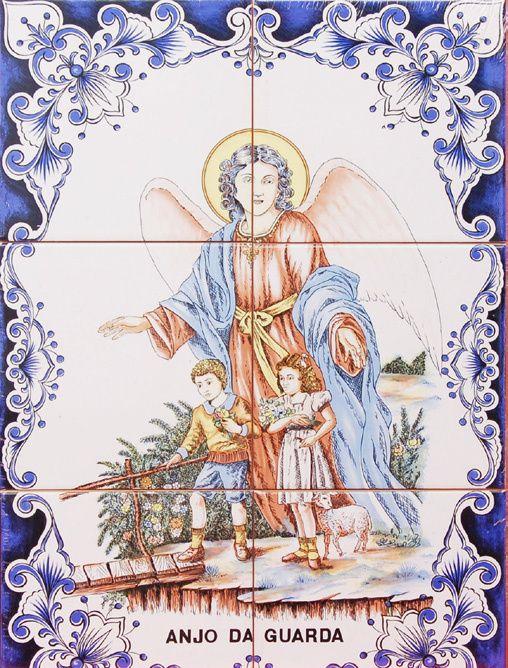Novo Painel De Azulejos Anjo Da Guarda 45 Cm X 30 Cm