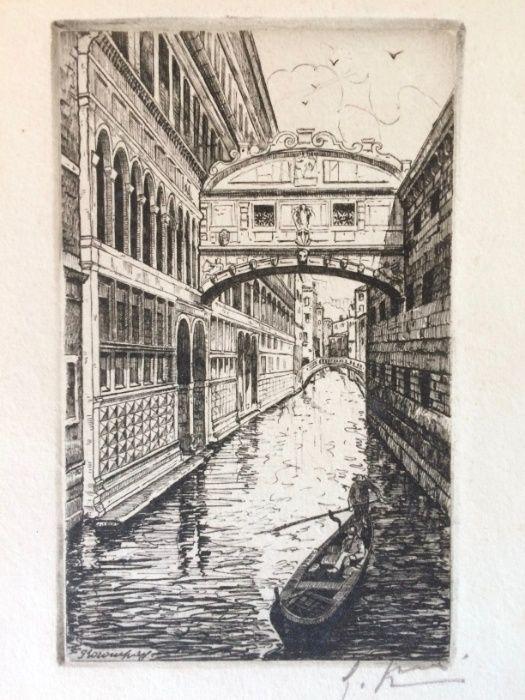 2 Gravuras de Giovanni Korompay – cerca de 1920 São Pedro de Castelões - imagem 6