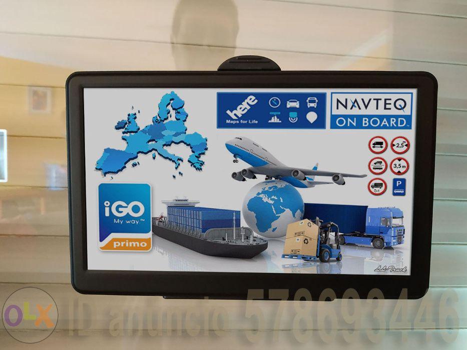 GPS 7 Profissional Truck/Camião Vers.Completa,Mapa Europa 2019,Cabo 2m