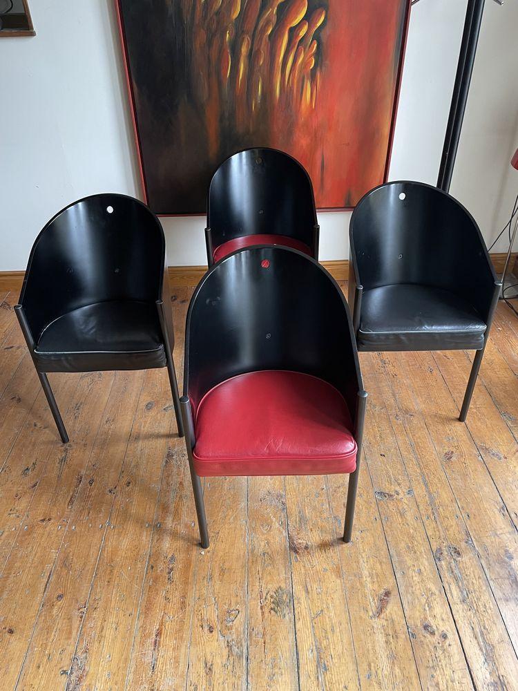 Philippe Starck dla Aleph Ubik kpl czterech krzeseł COSTES lata 80-te