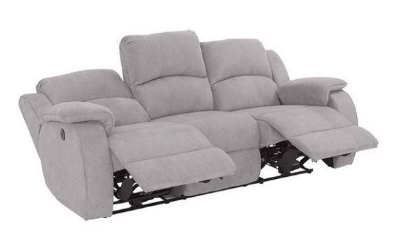 Sofá tecido cinza 3 lugares motorizado