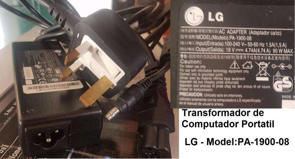 Transformador Portatil - LG PA-1900-08 (in 100-240V 1.5A = out.19V.)