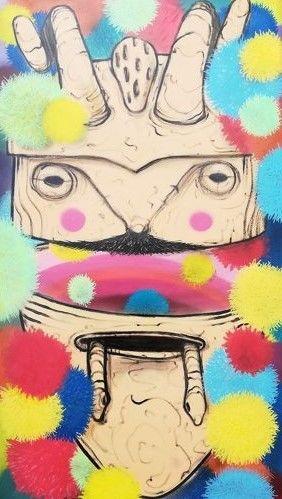 Acrílico sobre tela do artista de rua Gonçalo Mar - Mascara Portuguesa