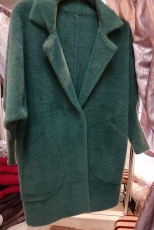 zielony butelkowy płaszcz alpaka