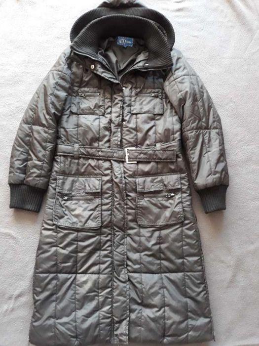 Czarny zimowy płaszcz pikowany z kapturem r. 38 Pruszcz
