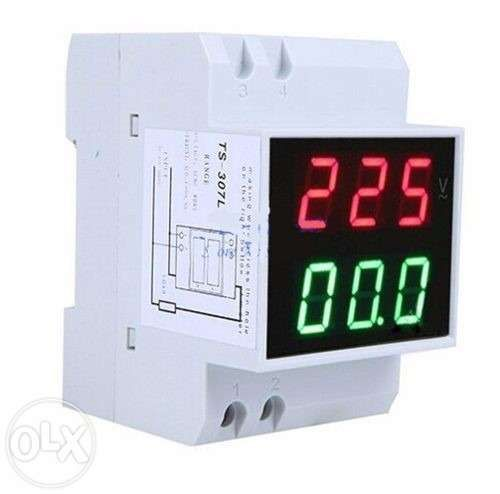 Voltimetro/Amperimetro Display duplo calha DIN 80-300V / 0,1-99,9A