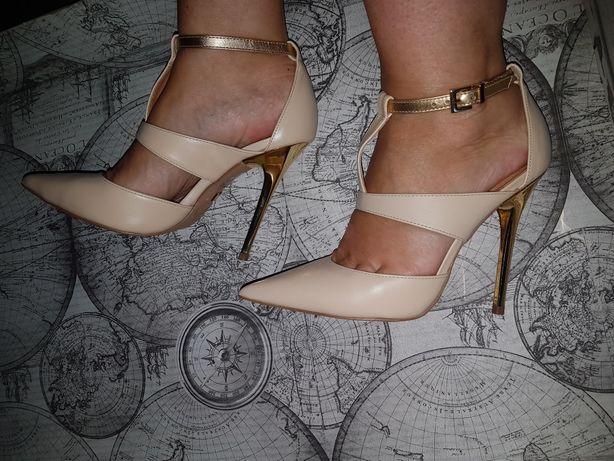 Złote sandały szpilki rozmiar 36 Chorzów • OLX.pl