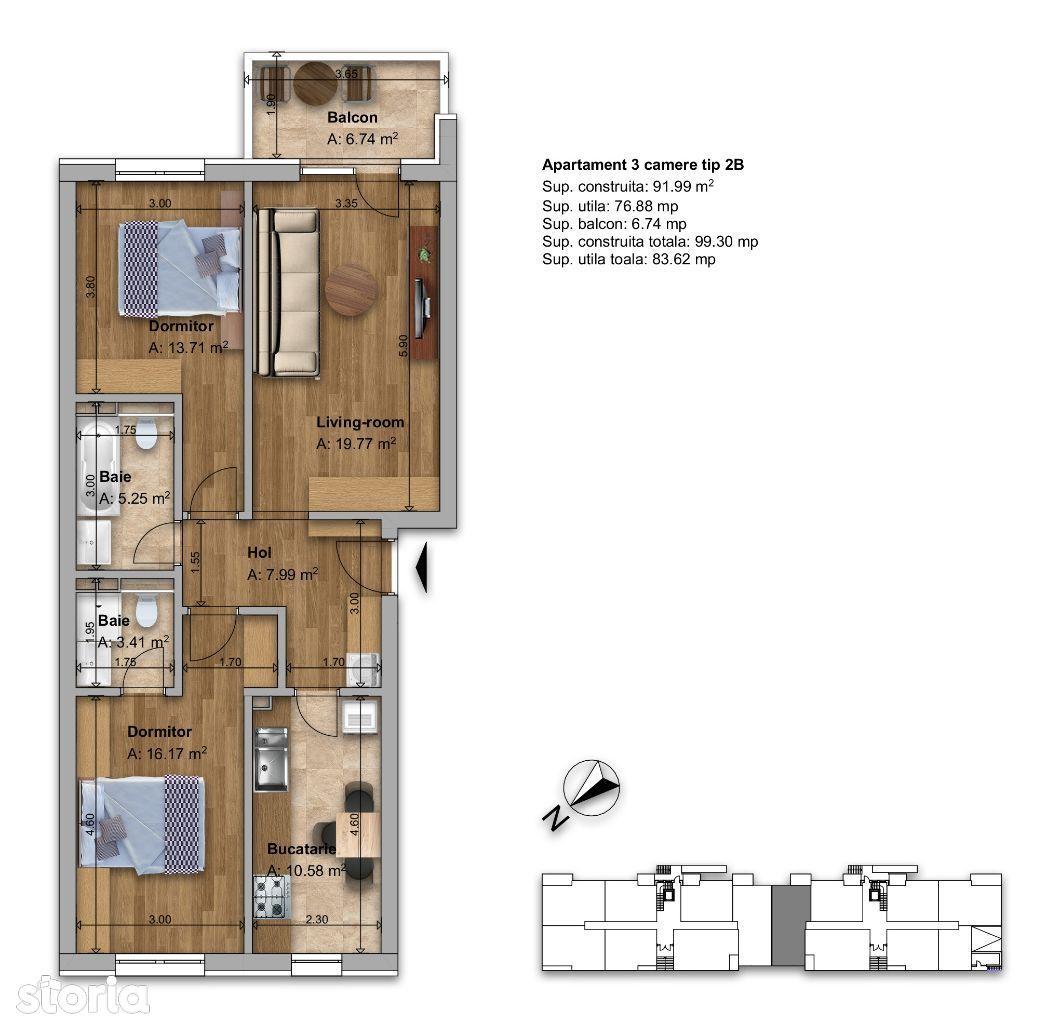 Apartament 3 camere tip 2B Regnum Residence & Spa Fundeni/Dobroesti