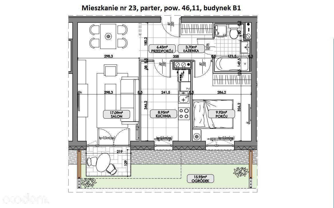 Nowe mieszkanie - oddzielna kuchnia - ogródek