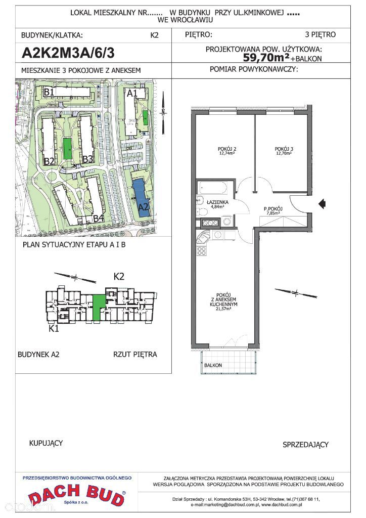3-pokoje z aneksem, parking gratis, Kaparowa