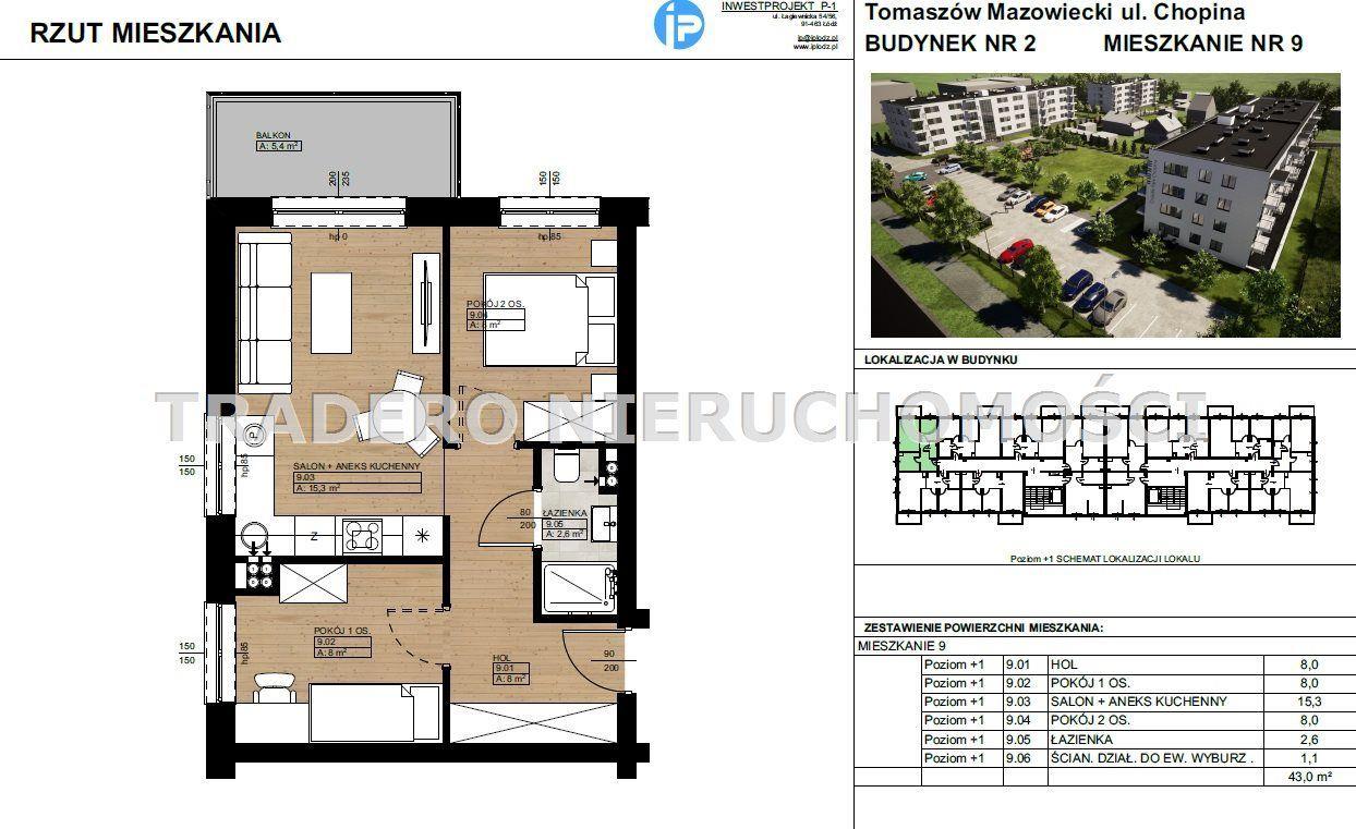 Mieszkanie, 43 m², Tomaszów Mazowiecki