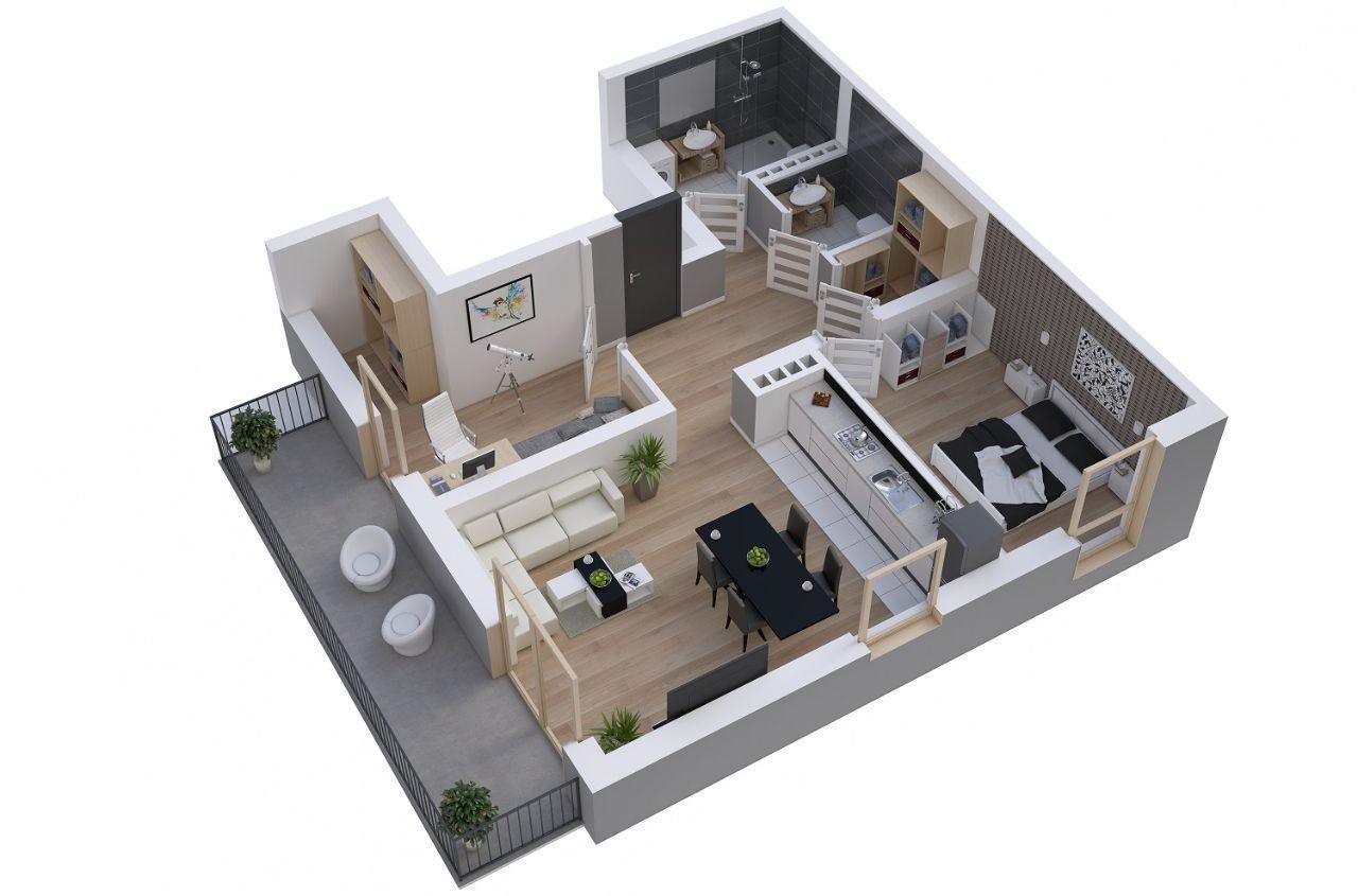 Mieszkanie 3 pokoje 66,02 m2 ul.Czapli 3 II piętro