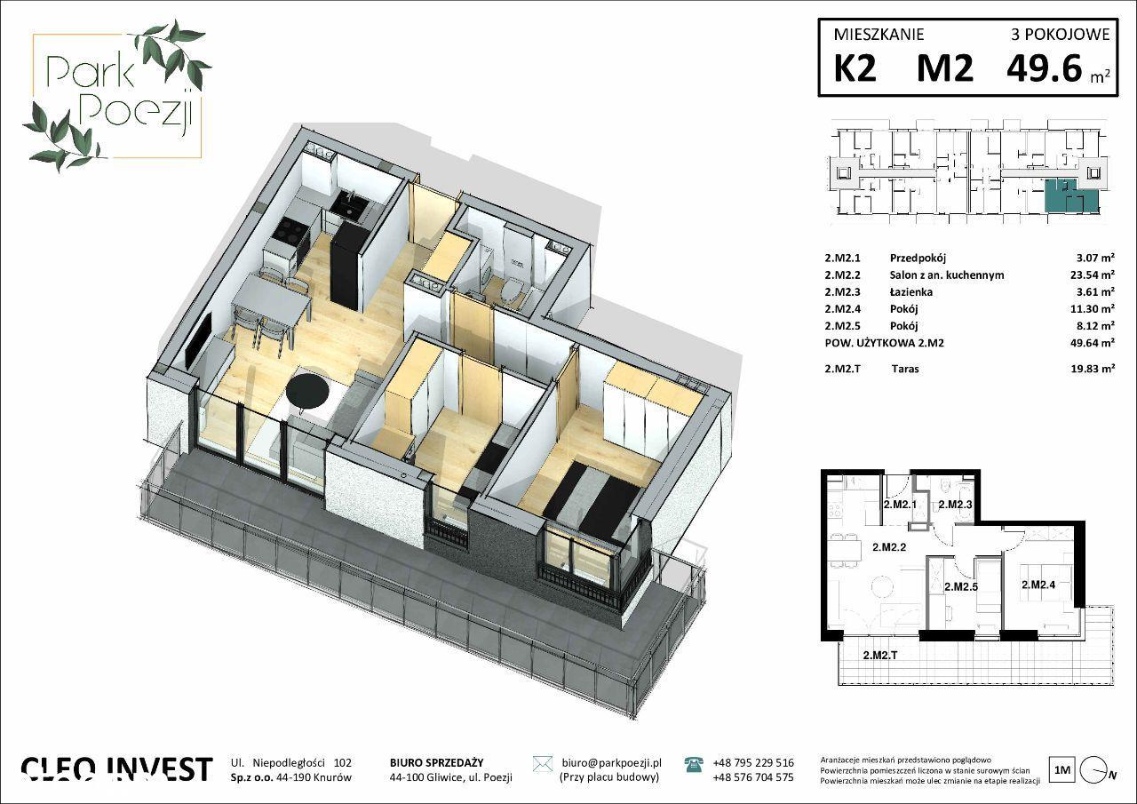 Mieszkanie 48,3m2, 3 pokoje, narożny balkon 19m2