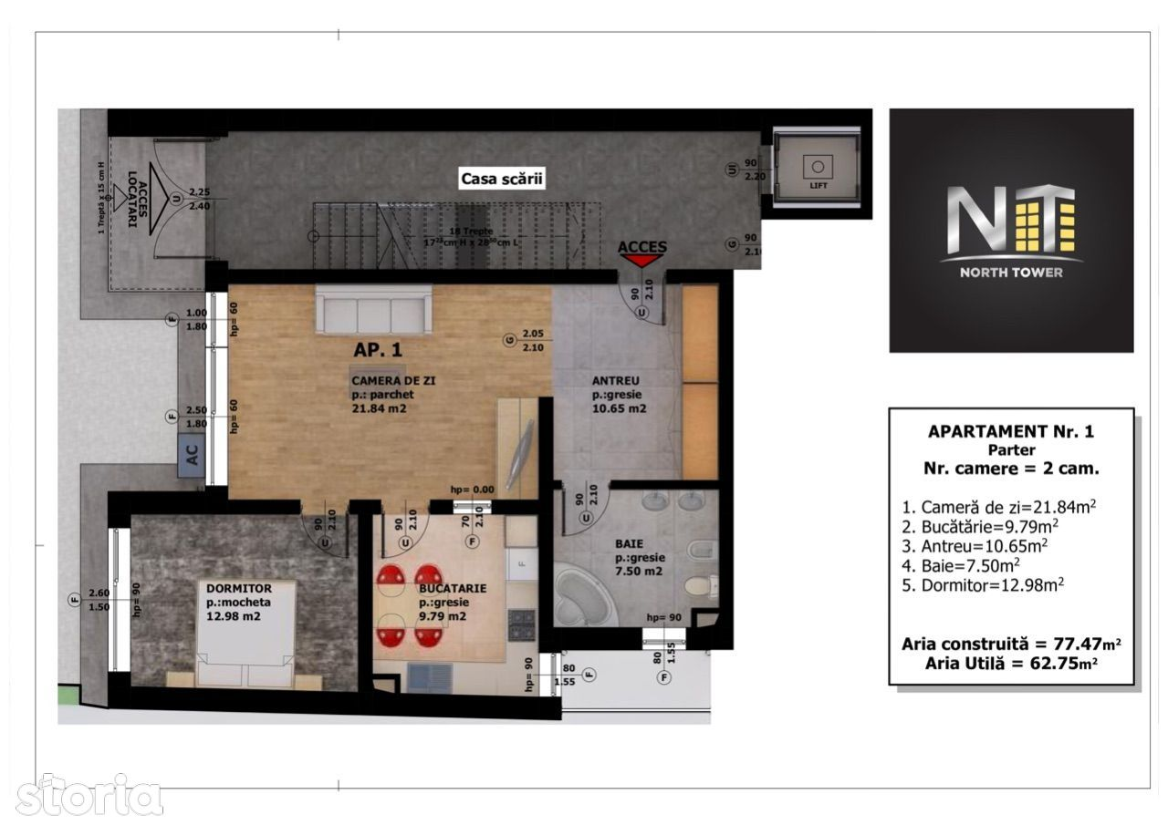 Apartament 2 camere Central-Ultracentral /Oradea North Tower Residence