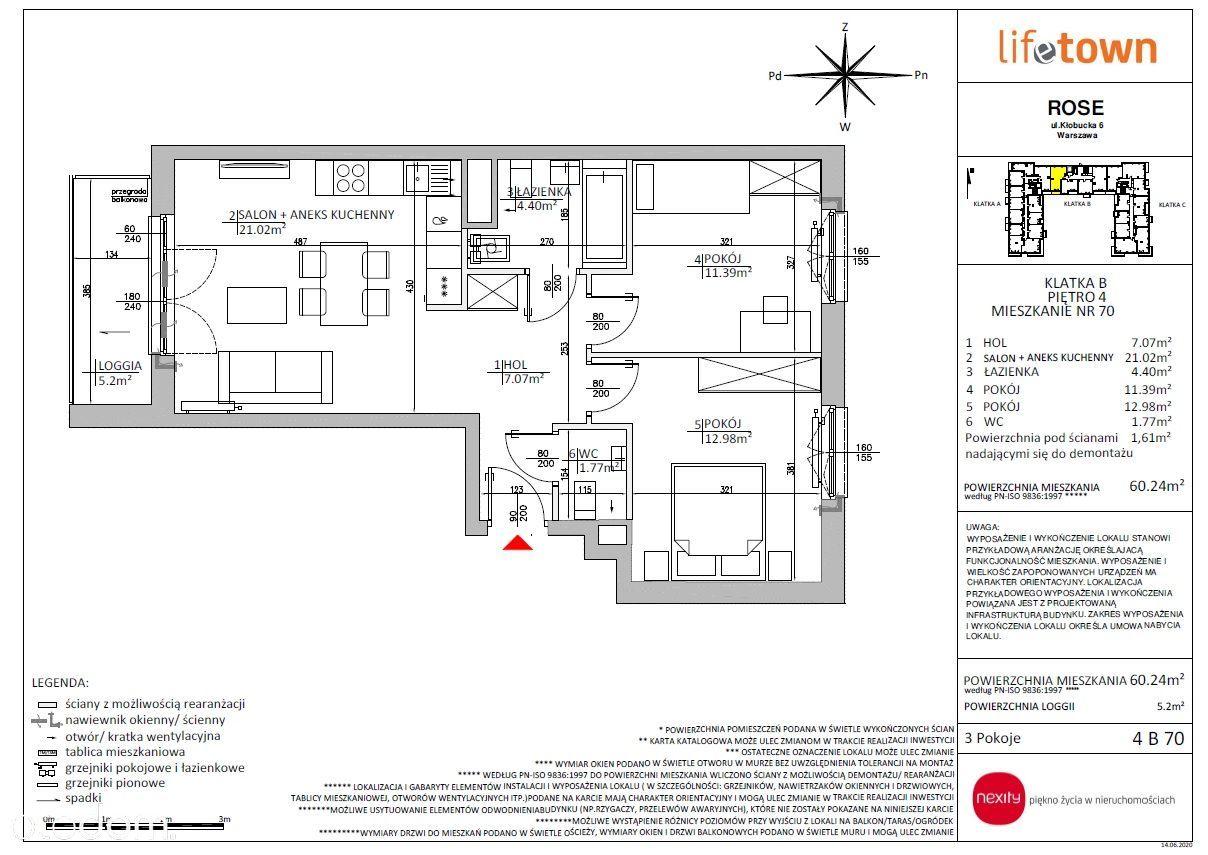 3 pokojowe rozkładowe mieszkanie 4 PIĘTRO 4B70