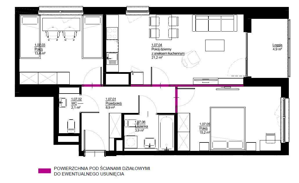 Trzypokojowe mieszkanie 65,7m2, Wrotków Rezerwacja