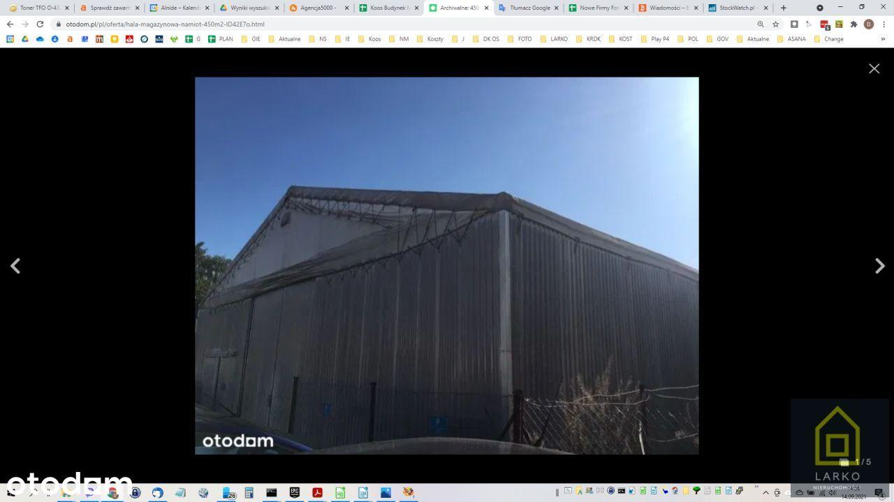 Hala magazynowa 450m2 Zewnętrzna Konstrukcja