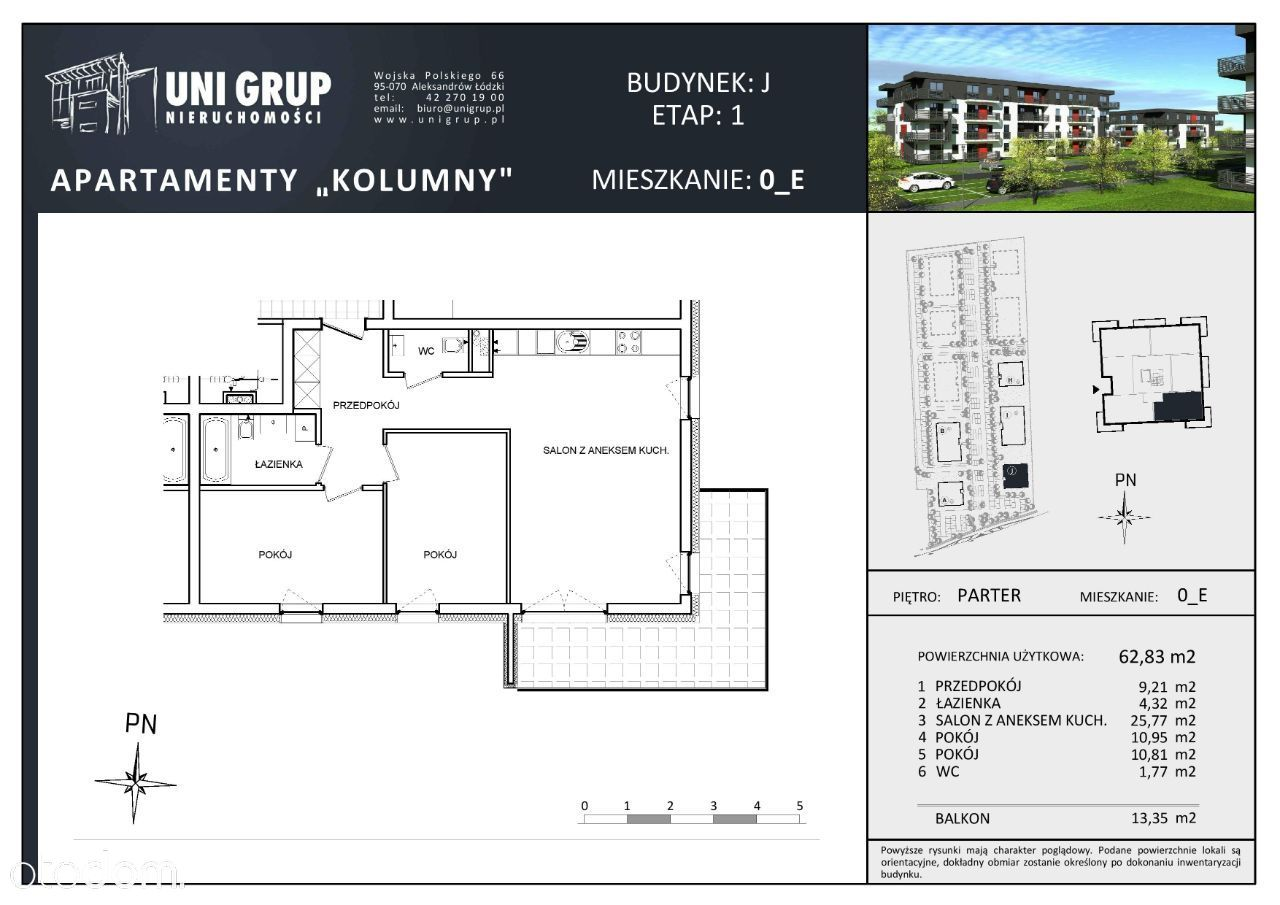 3 pokoje - Lokal E - PARTER - budynek J - etap I
