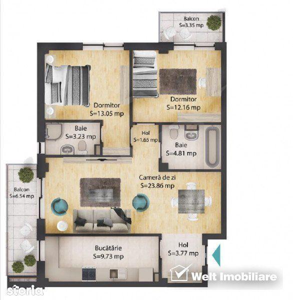 Apartament 3 camere, 72 mp, 2 bai, 2 balcoane, parcare subterana, Baci