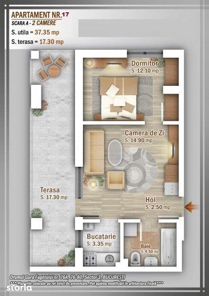 Apartament 2 camere cu Terasa de 17mp,Titan,Metrou 1 Decembrie1918