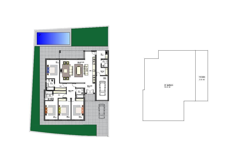 Moradia T4 térrea, isolada com garagem e piscina em fase inicial de co