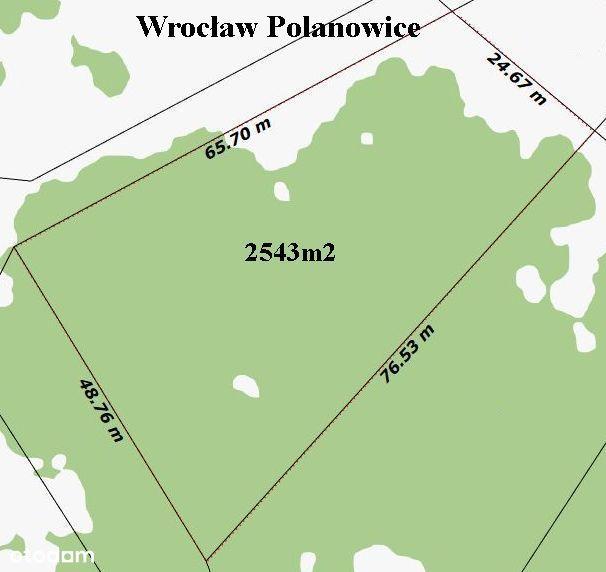 WROCŁAW , Polanowice , działka 2543m2
