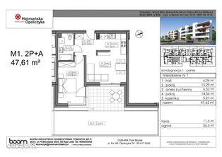 B36-M1, mieszkanie 2-pokojowe, 47,61 m2, parter