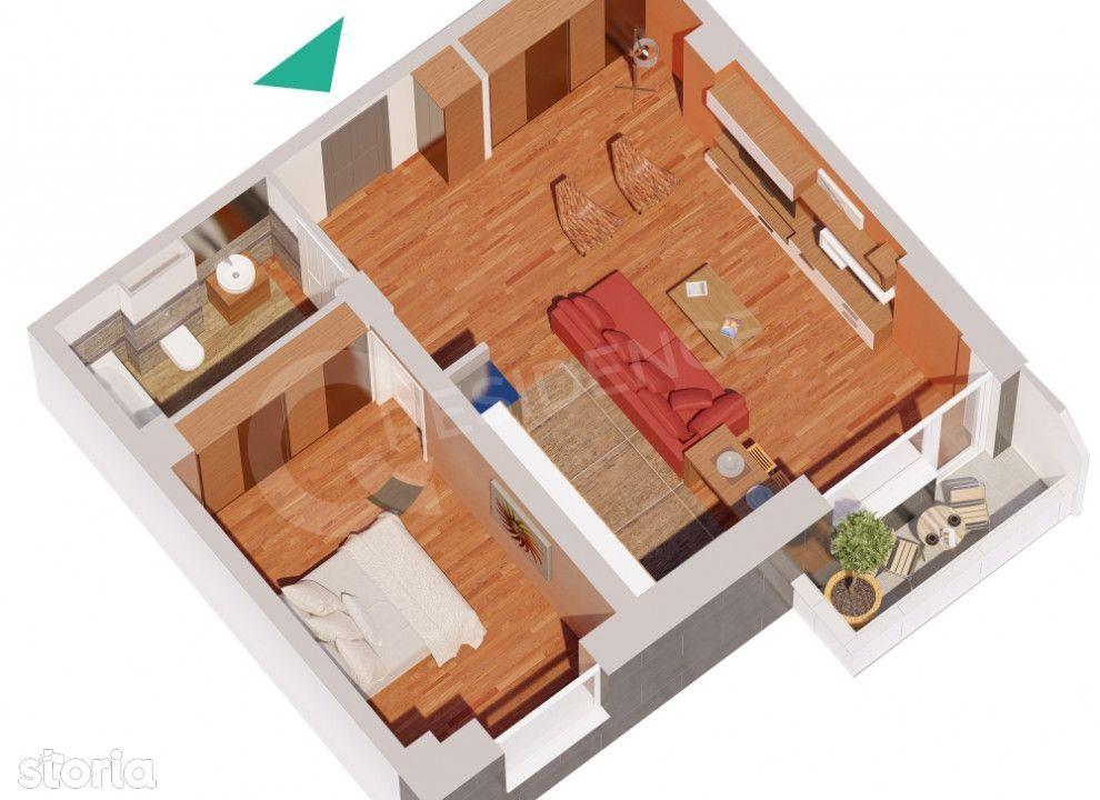 Apartament  1 camera Centru Civic , 38 metri, etaj 1 Cod:129881