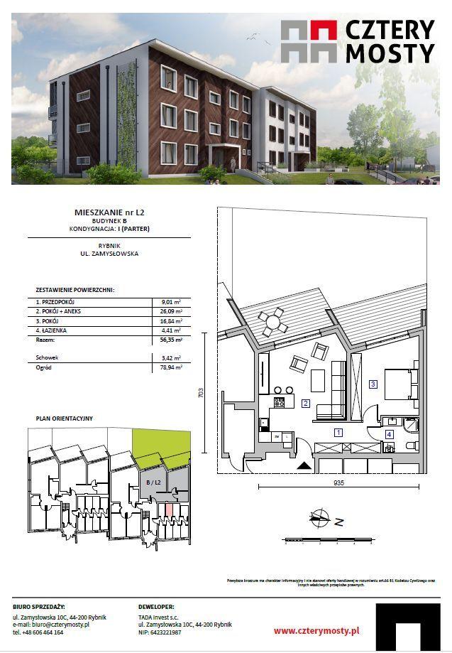 *** Nowe mieszkanie 56,35 m2 z ogrodem, 2 pokoje *