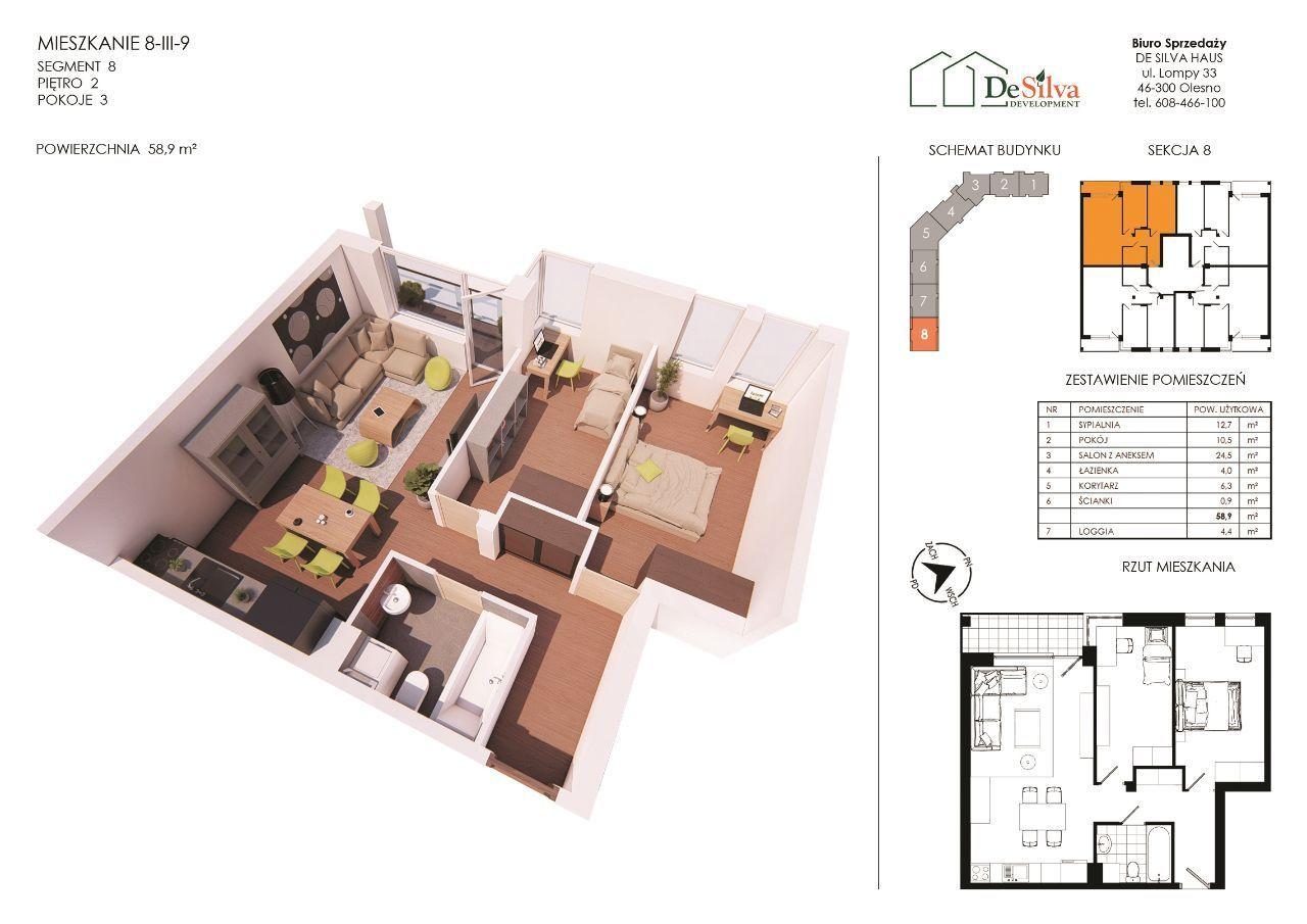 Mieszkanie 3pok. w nowym bloku garaż podziemny 813