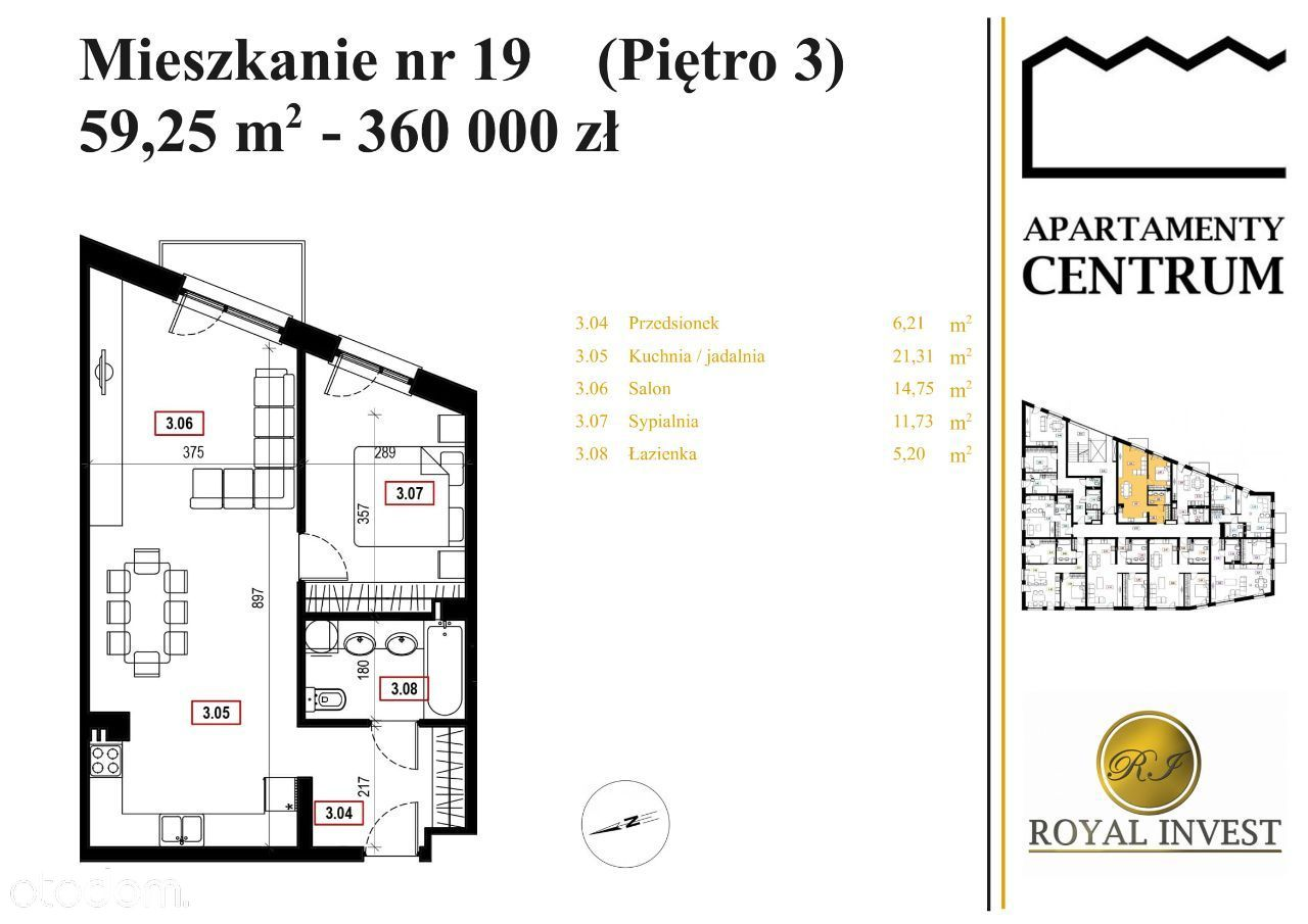 M19 - Apartamenty Centrum, Mszana Dolna, 59,25 m2